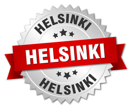 silver ribbon: Helsinki  round silver badge with red ribbon