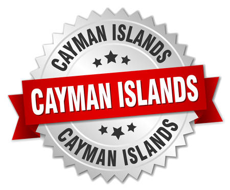 cayman islands: Cayman Islands  round silver badge with red ribbon