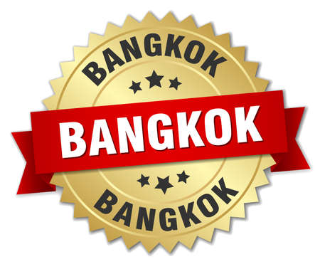 bangkok: Bangkok round golden badge with red ribbon