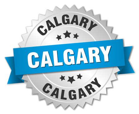 calgary: Calgary round silver badge with blue ribbon