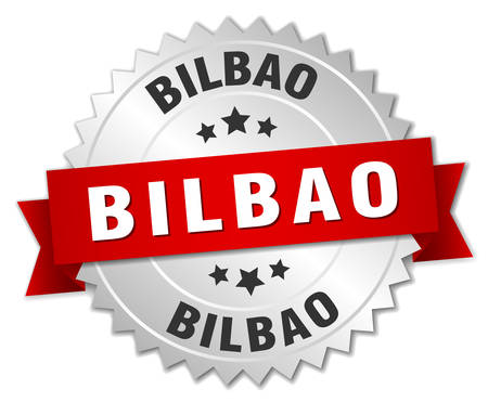 bilbao: Bilbao  round silver badge with red ribbon
