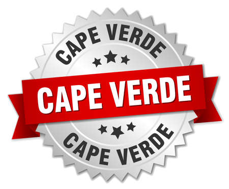 cape verde: Cape Verde  round silver badge with red ribbon