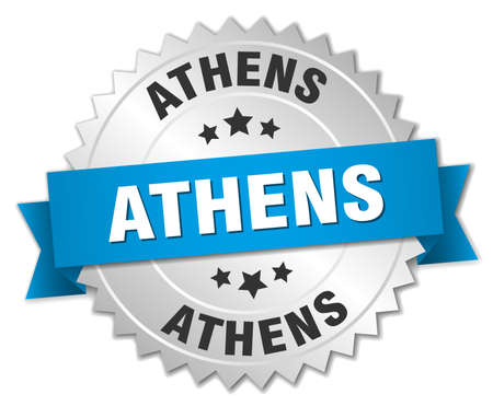 silvered: Athens round silver badge with blue ribbon
