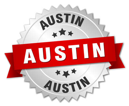 austin: Austin  round silver badge with red ribbon Illustration