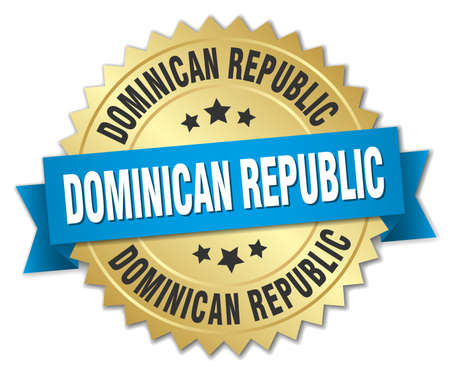 dominican republic: Dominican Republic round golden badge with blue ribbon
