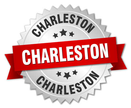 silver ribbon: Charleston round silver badge with red ribbon