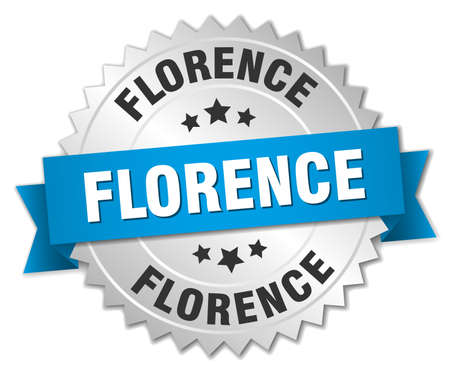 florence: Florence round silver badge with blue ribbon Illustration