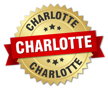 charlotte: Charlotte round golden badge with red ribbon