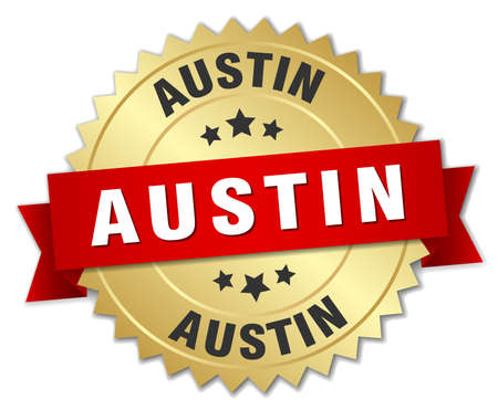 austin: Austin round golden badge with red ribbon