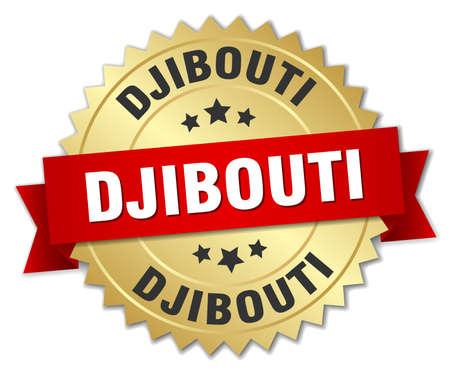 djibouti: Djibouti round golden badge with red ribbon