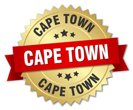 cape town: Cape Town round golden badge with red ribbon Illustration