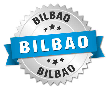 bilbao: Bilbao round silver badge with blue ribbon Illustration