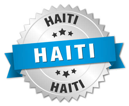 haiti: Haiti round silver badge with blue ribbon