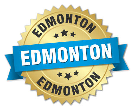 edmonton: Edmonton round golden badge with blue ribbon