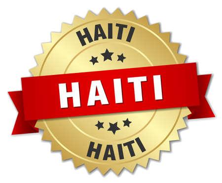 haiti: Haiti round golden badge with red ribbon