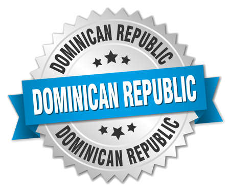 dominican: Dominican Republic round silver badge with blue ribbon