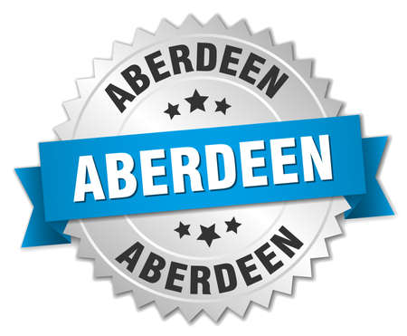 Aberdeen round silver badge with blue ribbon