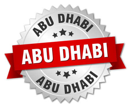 silvered: Abu Dhabi  round silver badge with red ribbon Illustration