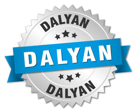 silver ribbon: Dalyan round silver badge with blue ribbon Illustration
