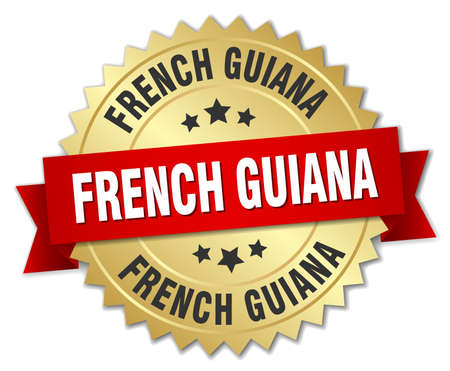 french guiana: French Guiana round golden badge with red ribbon