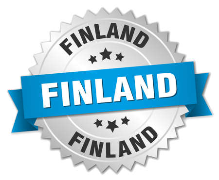 silver ribbon: Finland round silver badge with blue ribbon Illustration