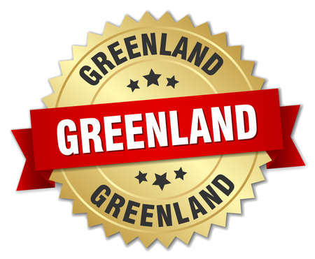 greenland: Greenland round golden badge with red ribbon