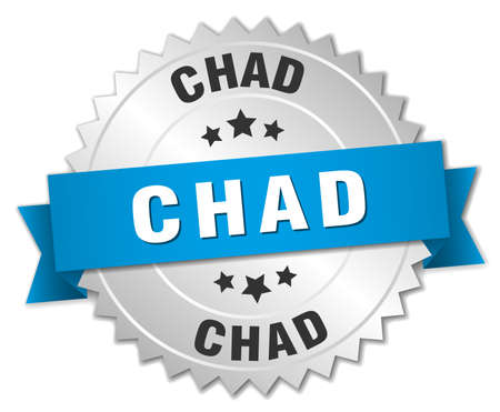chad: Chad round silver badge with blue ribbon Illustration