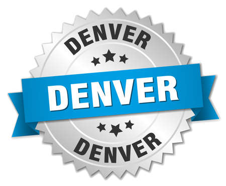 denver: Denver round silver badge with blue ribbon