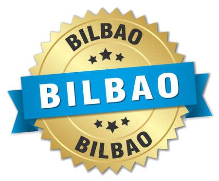 bilbao: Bilbao round golden badge with blue ribbon