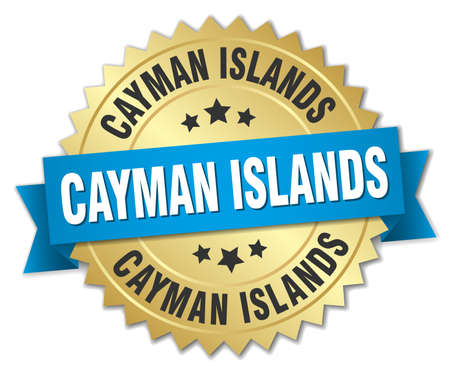 cayman islands: Cayman Islands round golden badge with blue ribbon Illustration