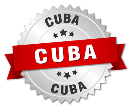 silvered: Cuba  round silver badge with red ribbon
