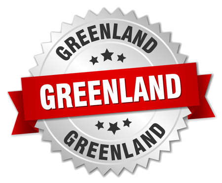 greenland: Greenland round silver badge with red ribbon