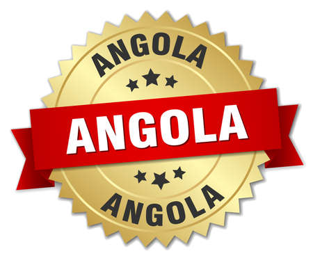 angola: Angola round golden badge with red ribbon Illustration