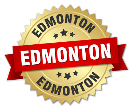 edmonton: Edmonton round golden badge with red ribbon