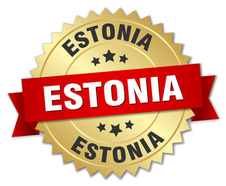 estonia: Estonia round golden badge with red ribbon Illustration