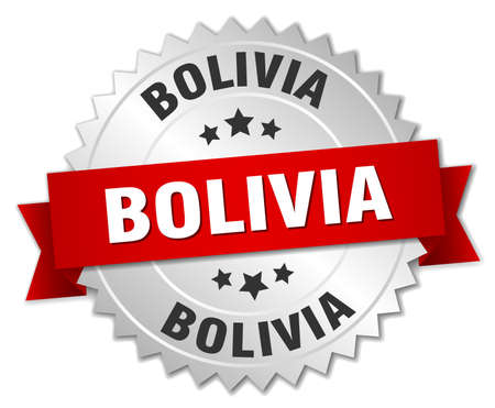 bolivia: Bolivia round silver badge with red ribbon