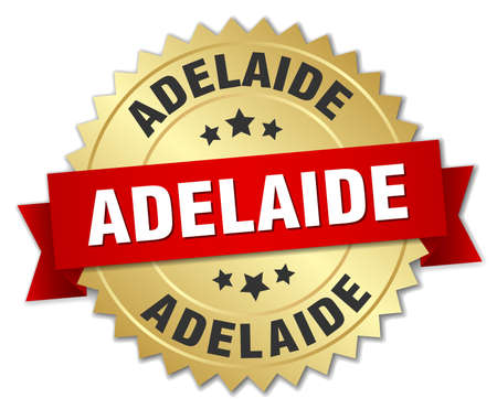 adelaide: Adelaide round golden badge with red ribbon
