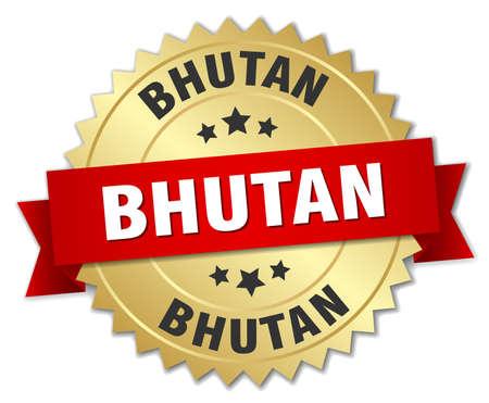 bhutan: Bhutan round golden badge with red ribbon