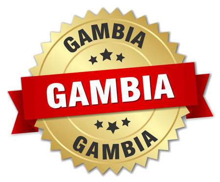 gambia: Gambia round golden badge with red ribbon