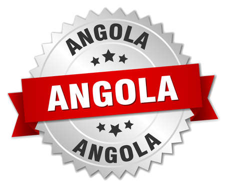 silver ribbon: Angola  round silver badge with red ribbon