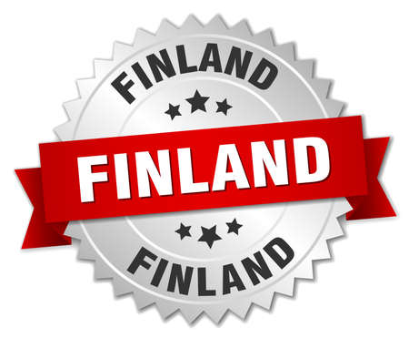 finland: Finland  round silver badge with red ribbon Illustration