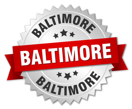 baltimore: Baltimore  round silver badge with red ribbon Illustration