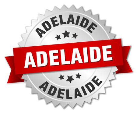 adelaide: Adelaide  round silver badge with red ribbon Illustration