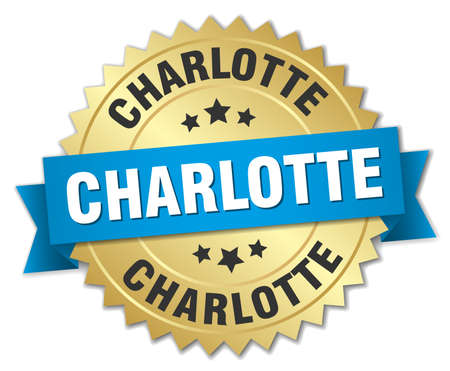charlotte: Charlotte round golden badge with blue ribbon