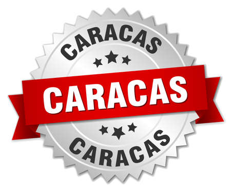 caracas: Caracas  round silver badge with red ribbon