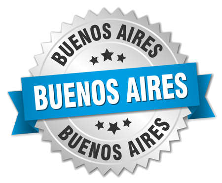 aires: Buenos Aires round silver badge with blue ribbon Illustration