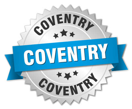 Coventry round silver badge with blue ribbon