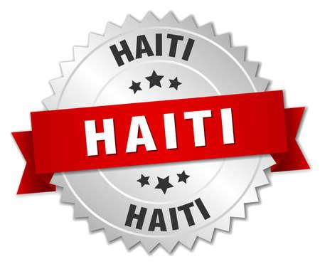 haiti: Haiti  round silver badge with red ribbon