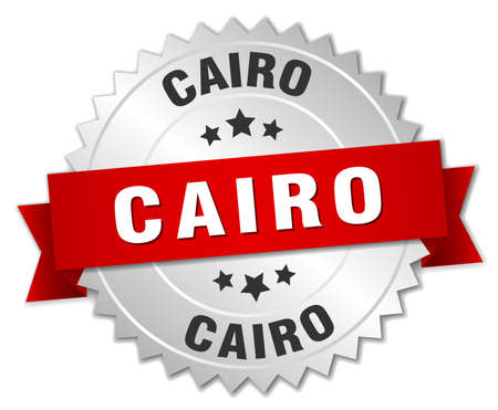 cairo: Cairo  round silver badge with red ribbon