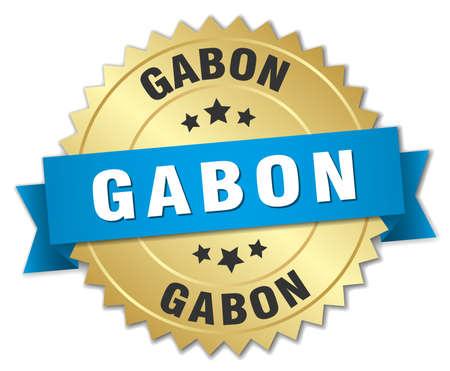 gabon: Gabon round golden badge with blue ribbon Illustration